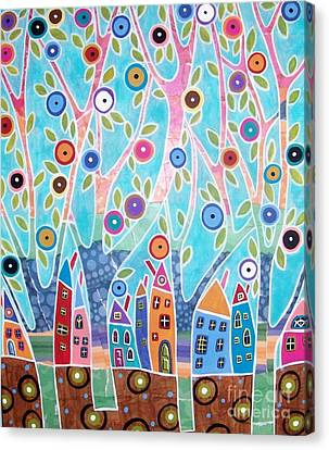 Trees Houses Landscape Canvas Print by Karla Gerard
