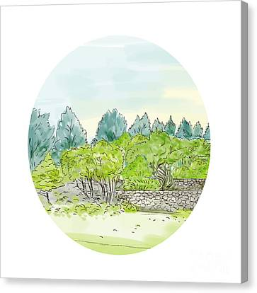 Trees In Park With Cornwall Oval Watercolor Canvas Print by Aloysius Patrimonio