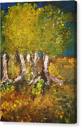 Canvas Print featuring the painting Trees In The Evening by Evelina Popilian