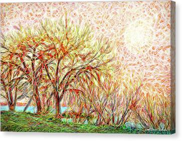 Canvas Print featuring the digital art Trees In Winter Under Full Moon At Dusk by Joel Bruce Wallach