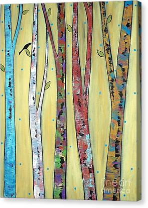 Trees On Yellow Canvas Print by Karla Gerard