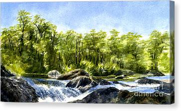 Trees With Rocks And Waterfall Canvas Print by Sharon Freeman