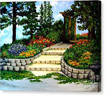 Canvas Print featuring the painting Trellace Gardens by Elizabeth Robinette Tyndall