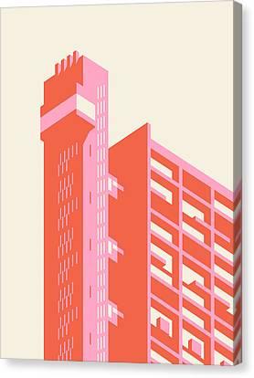 Brutalist Canvas Print - Trellick Tower London Brutalist Architecture - Plain Cream by Ivan Krpan