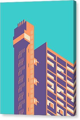 Brutalist Canvas Print - Trellick Tower London Brutalist Architecture - Plain Cyan by Ivan Krpan
