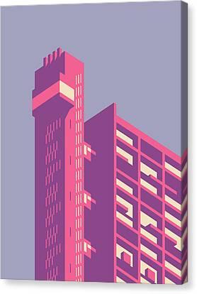 Brutalist Canvas Print - Trellick Tower London Brutalist Architecture - Plain Lavender by Ivan Krpan