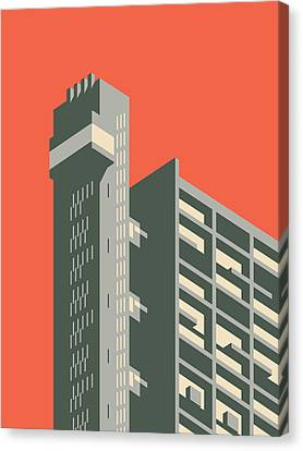 Brutalist Canvas Print - Trellick Tower London Brutalist Architecture - Plain Red by Ivan Krpan