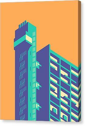 Brutalist Canvas Print - Trellick Tower London Brutalist Architecture - Plain Tangerine by Ivan Krpan