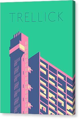 Brutalist Canvas Print - Trellick Tower London Brutalist Architecture - Text Cream by Ivan Krpan