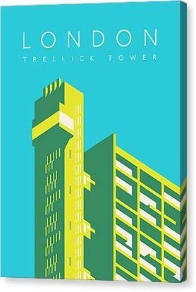 Brutalist Canvas Print - Trellick Tower London Brutalist Architecture - Text Cyan by Ivan Krpan