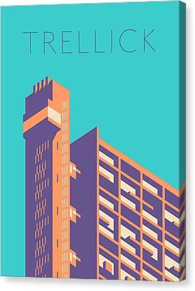 Brutalist Canvas Print - Trellick Tower London Brutalist Architecture - Text Green by Ivan Krpan