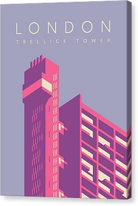 Brutalist Canvas Print - Trellick Tower London Brutalist Architecture - Text Lavender by Ivan Krpan