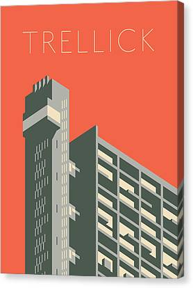 Brutalist Canvas Print - Trellick Tower London Brutalist Architecture - Text Red by Ivan Krpan