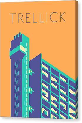 Brutalist Canvas Print - Trellick Tower London Brutalist Architecture - Text Tangerine by Ivan Krpan
