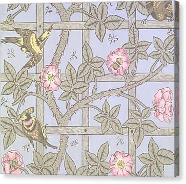 Trellis   Antique Wallpaper Design Canvas Print by William Morris