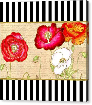 Canvas Print featuring the digital art Trendy Red Poppy Floral Black And White Stripes by Tracie Kaska