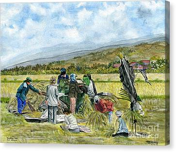 Canvas Print featuring the painting Treshing Rice by Melly Terpening