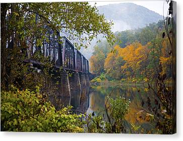 Trestle In Autumn Canvas Print by Hugh Smith