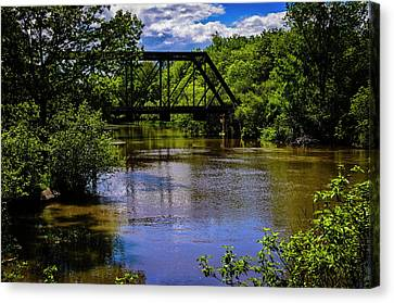 Canvas Print featuring the photograph Trestle Over River by Mark Myhaver