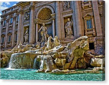 Canvas Print featuring the photograph Trevi Fountain From Right Side  by Harry Spitz