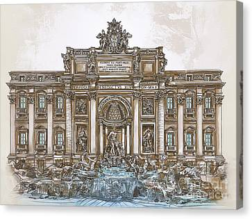 Canvas Print featuring the painting  Trevi Fountain,rome  by Andrzej Szczerski