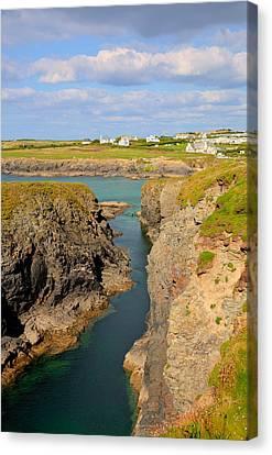 Treyarnon Bay Coast Cornwall England Uk Cornish North Colourful  Canvas Print by Michael Charles