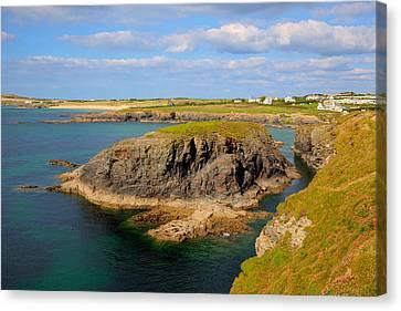 Treyarnon Bay Coast Cornwall England Uk Cornish North Colourful Scene Canvas Print by Michael Charles