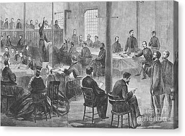 Trial Of Lincoln Assassins, 1865 Canvas Print