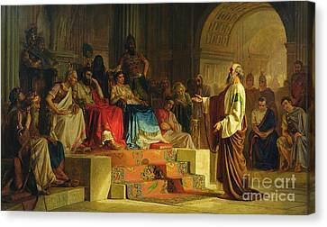 Trial Of The Apostle Paul Canvas Print by Nikolai K Bodarevski