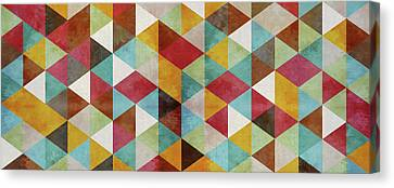Pattern Canvas Print - Triangles Circus Oil Panoramic by Francisco Valle