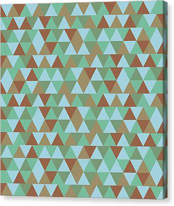 Warm Canvas Print - Triangular Geometric Pattern - Blue Green Brown by Studio Grafiikka