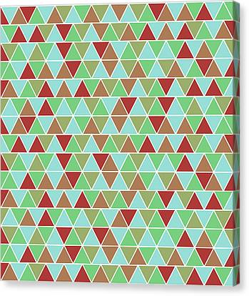 Warm Canvas Print - Triangular Geometric Pattern - Blue, Green, Maroon, Brown by Studio Grafiikka