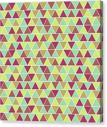 Warm Canvas Print - Triangular Geometric Pattern - Warm Colors 03 by Studio Grafiikka
