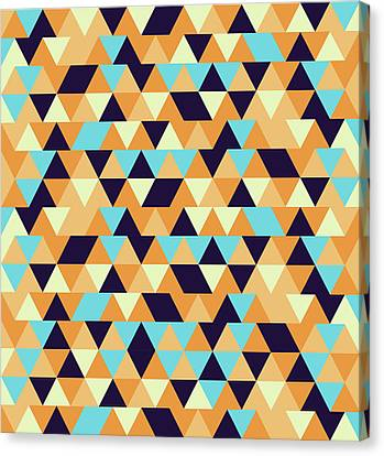 Warm Canvas Print - Triangular Geometric Pattern - Warm Colors 06 by Studio Grafiikka
