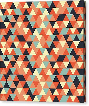 Warm Canvas Print - Triangular Geometric Pattern - Warm Colors 09 by Studio Grafiikka