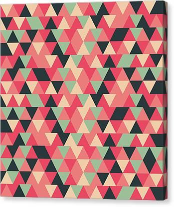 Black Top Canvas Print - Triangular Geometric Pattern - Warm Colors 13 by Studio Grafiikka