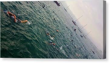 Triathlon Race In Lake Michigan Canvas Print by Britten Adams