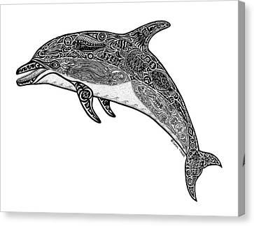 Tribal Dolphin Canvas Print by Carol Lynne