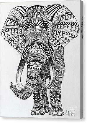 Canvas Print featuring the painting Tribal Elephant by Ashley Price