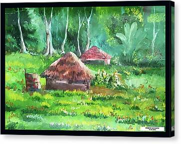 Tribal Hut Canvas Print by Sreejesh Koonery