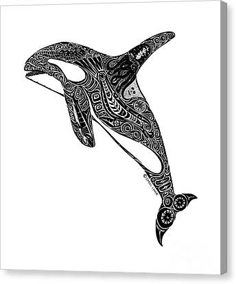 Tribal Orca Canvas Print by Carol Lynne