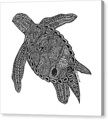 Tribal Turtle I Canvas Print by Carol Lynne