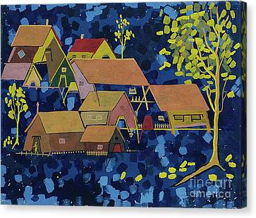 Canvas Print featuring the painting Tribal Village by Vilas Malankar