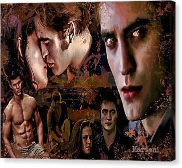 Tribute To Eclipse Pattinson Stewart Lautner Canvas Print by Alex Martoni