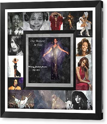 Tribute Whitney Houston One Moment In Time Canvas Print by Davandra Cribbie