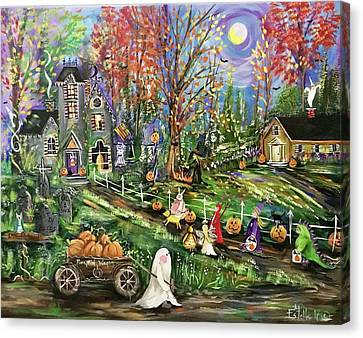 Haunted House Canvas Print - Trick Or Treat Night by Estelle Grengs