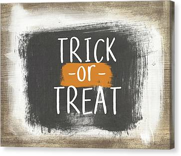 Trick Or Treat Sign- Art By Linda Woods Canvas Print by Linda Woods