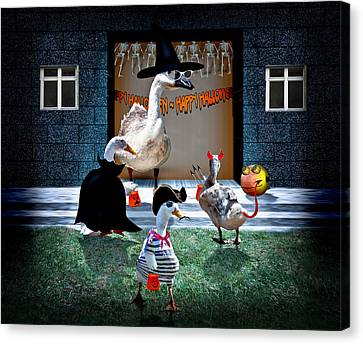 Trick Or Treat Time For Little Ducks Canvas Print by Gravityx9  Designs