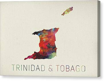Caribbean Canvas Print - Trinidad And Tobago Watercolor Map by Design Turnpike