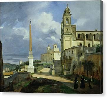 Trinita Dei Monti And The Villa Medici In Rome Canvas Print by Francois Marius Granet